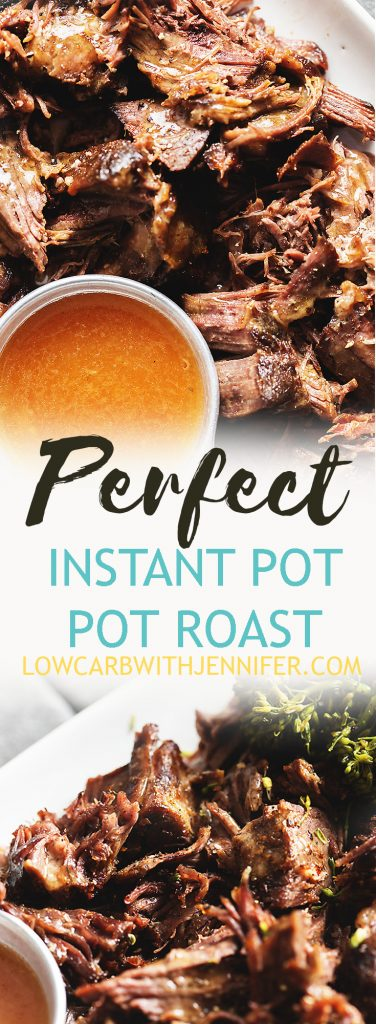 You can have juicy and fall apart tender pot roast any day of the week with the help of an Instant Pot Pressure Cooker! This easy pressure cooker pot roast will be a low carb family favorite! #ketorecipes #lowcarbrecipes #instantpot #ketodiet