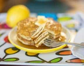 The lemon zest in these low carb pancakes give them so much flavor without adding to the carb count! Enjoy these with sugar free syrup and lots of butter.