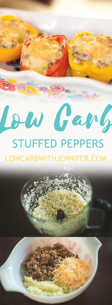 These low carb stuffed peppers are filled with delicious cauliflower rice, sausage, and cheese. The leftovers make great lunches for busy moms too!