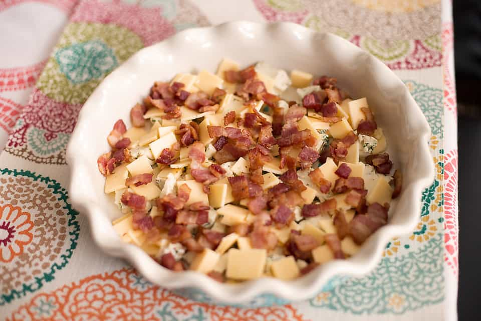 bacon and cheese diced in a pie plate