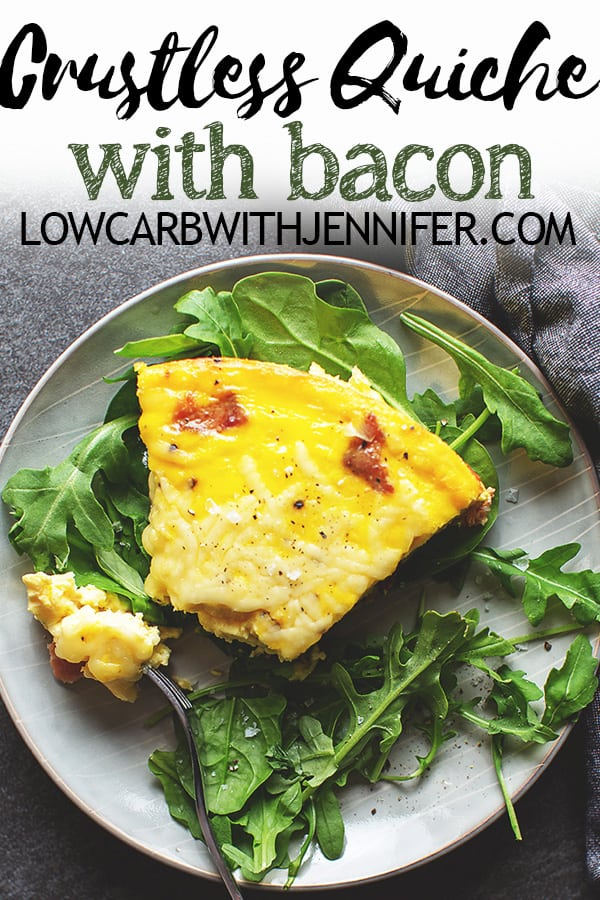 This easy crustless quiche is filled to the brim with bacon and cheese. You could add spinach or broccoli, but I prefer my quiche to be like a traditional quiche Lorraine. And no, a crustless quiche is not a frittata!