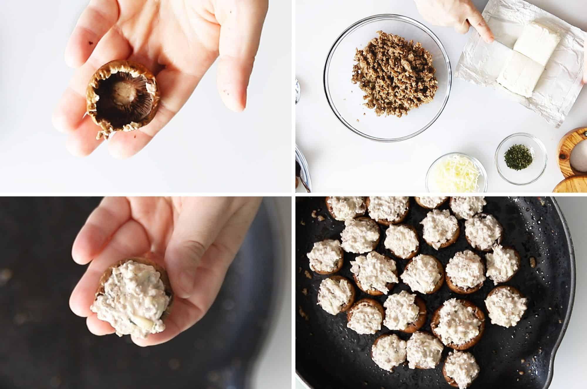 process for filling stuffed mushrooms