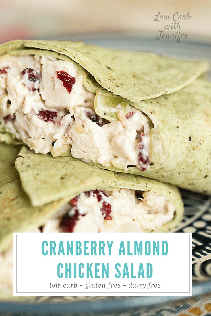 This cranberry almond chicken salad has cranberries, of course. But don't worry! It is still low carb!