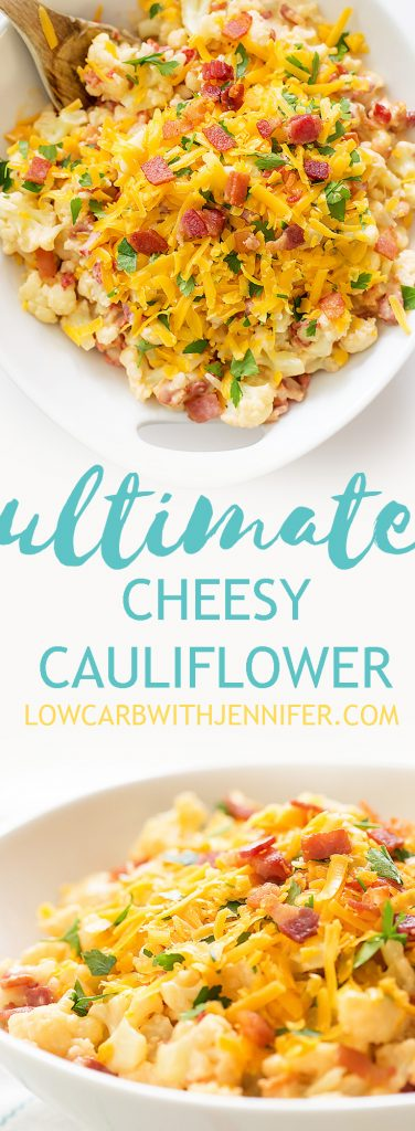 Cauliflower mac and cheese that is so creamy and delicious. Say goodbye to bland cauliflower and make this cheesy bacony goodness stat. #keto #lowcarb #ketorecipes #lowcarbrecipes