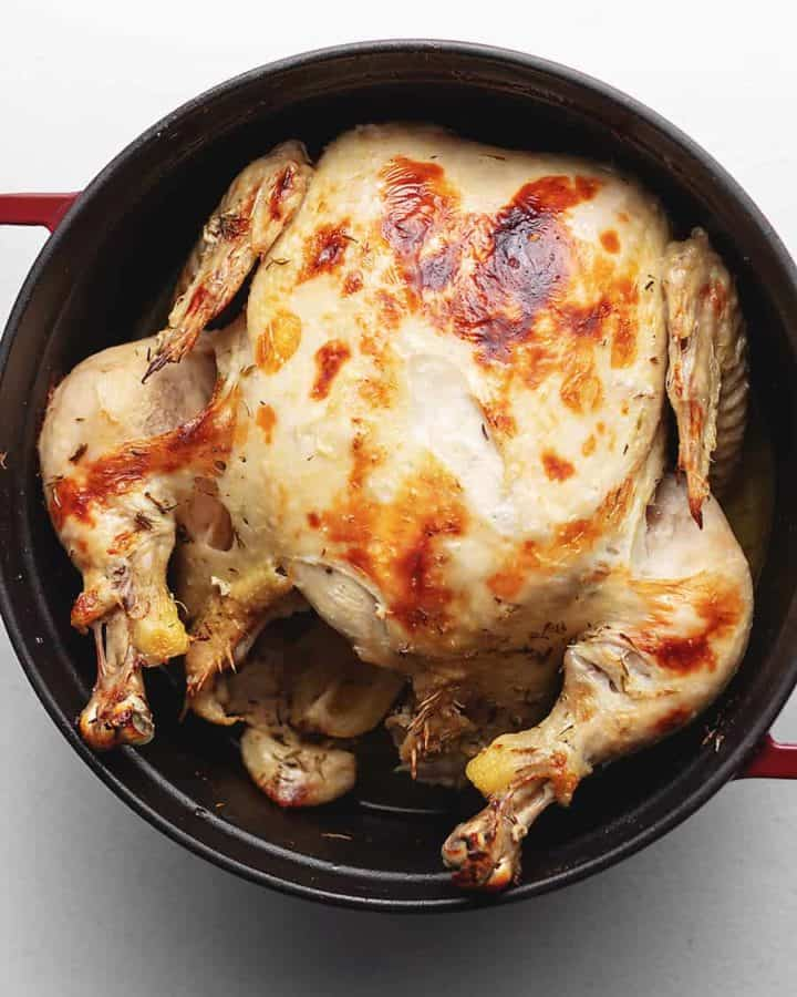 whole roast chicken in a dutch oven