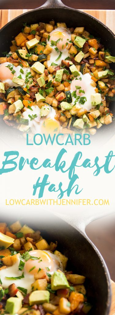 Breakfast hash is no longer off limits thanks to the mildly flavored celeriac. Use it in place of potatoes in this low carb breakfast hash.