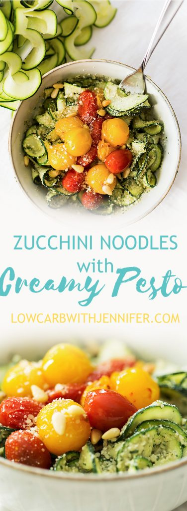 These zucchini noodles with creamy pesto and burst tomatoes are low carb, vegetarian, and gluten free! Enjoy it outside at a picnic this beautiful Spring!