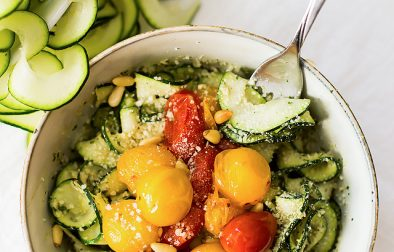 Zucchini Noodles with Creamy Pesto - Low Carb, Gluten Free, Vegetarian