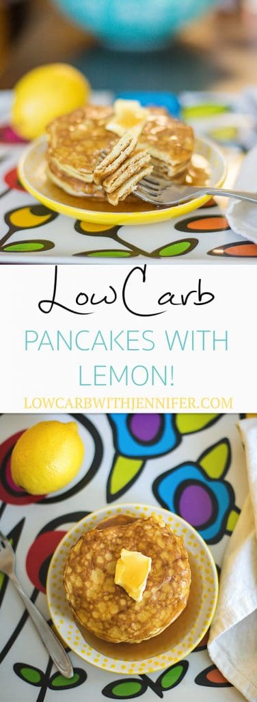 The lemon zest in these low carb pancakes give them so much flavor without adding to the carb count! Enjoy these with sugar free syrup and lots of butter. low carb breakfast recipes #lowcarbrecipes #ketorecipes #lowcarbdiet
