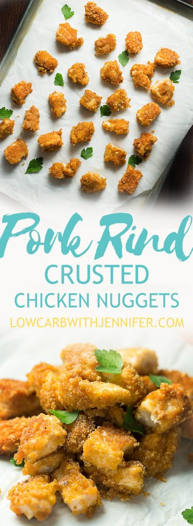 Low carb and keto chicken nuggets using pork rinds as the breading. Instructions for frying and baking!