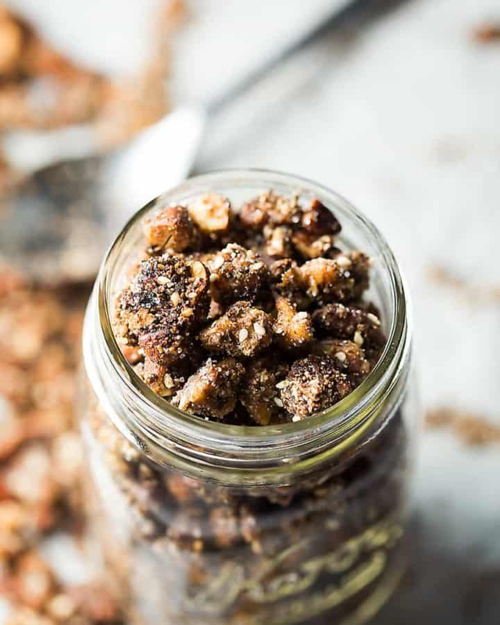 low carb granola cereal in a mason jar