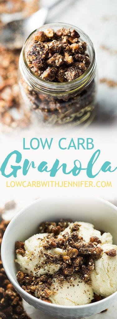 Salty sweet and cinnamony low carb granola is the perfect grab and go snack or topping for low carb ice cream!