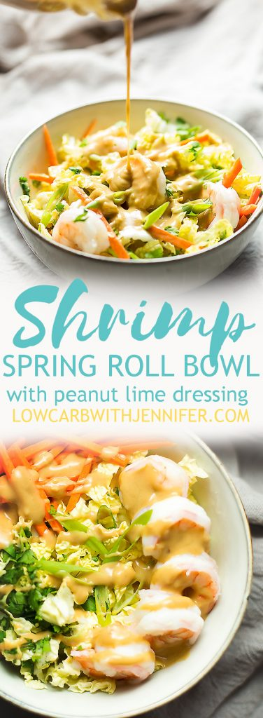 My new favorite easy lunch is this shrimp spring roll bowl with peanut lime dressing. You know how most peanuty, thai dressings have honey and sugar in them...well, this one doesn't so it is perfectly low carb. I could seriously drink this dressing.