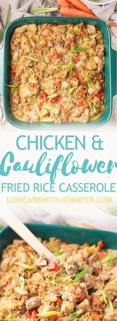This chicken cauliflower fried rice casserole is like comfort Chinese food but without all of the carbs! This casserole is full of veggies but your kids will never know that it is cauliflower instead of white rice! Feel free to fill your plate with this low carb chicken cauliflower fried rice casserole