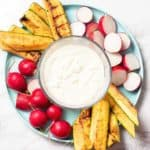 This creamy feta dip is so flavorful and only 4 ingredients! Use it as an easy veggie dip this summer!