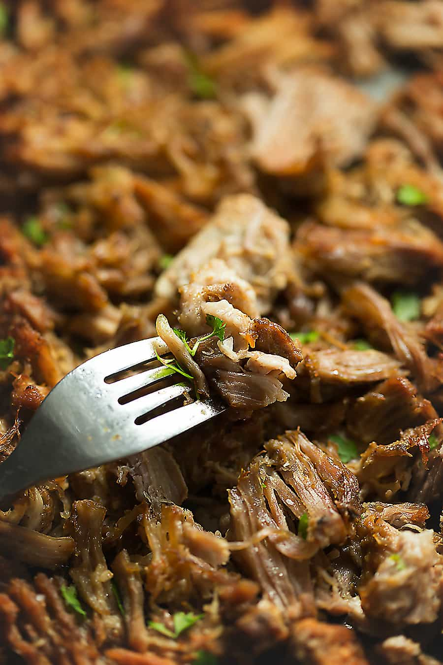a sheet pan full of crispy pork carnitas with a fork
