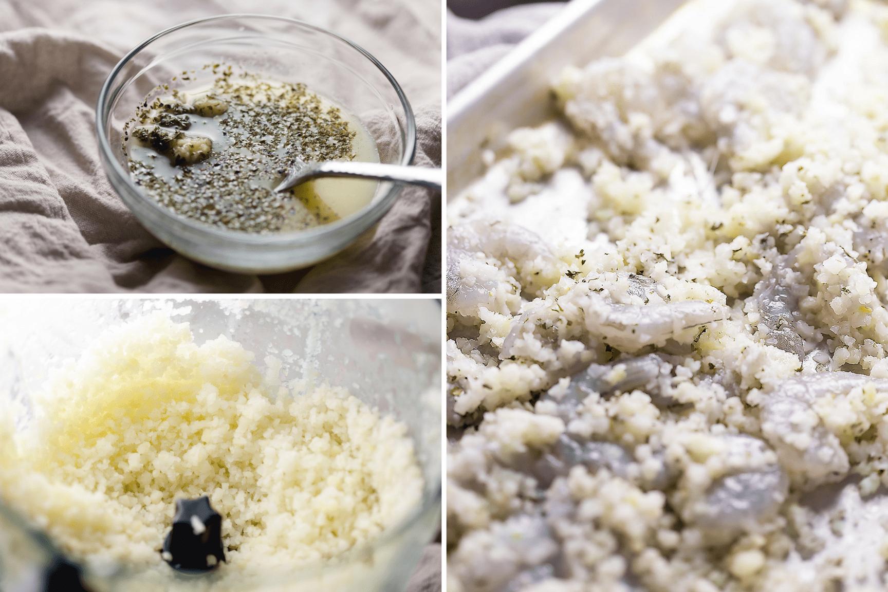 process of making garlic butter shrimp and cauliflower rice