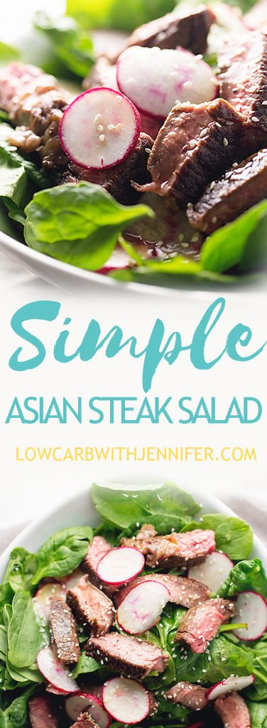 This easy asian steak salad uses only one ingredient to marinate the steak and the asian sesame dressing mixes up quickly in a jar. A simple and quick weeknight dinner!