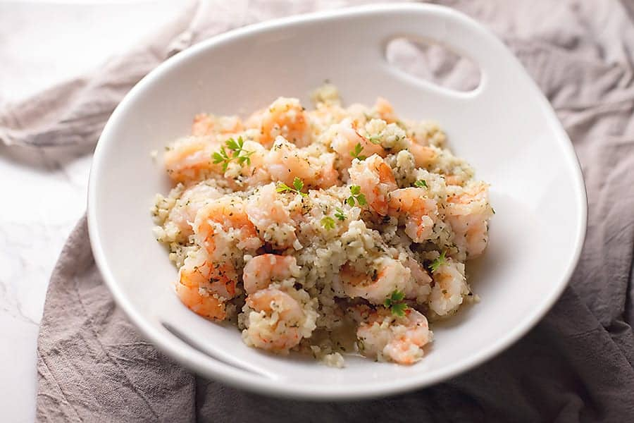 Low Carb Shrimp Recipe With Garlic Butter And Cauliflower