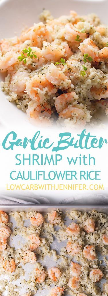 This Garlic Butter shrimp with cauliflower rice is an easy sheet pan meal that can be on the table in less than 30 minutes. That makes this a low carb 30 minute meal! This garlic butter shrimp is THM-S
