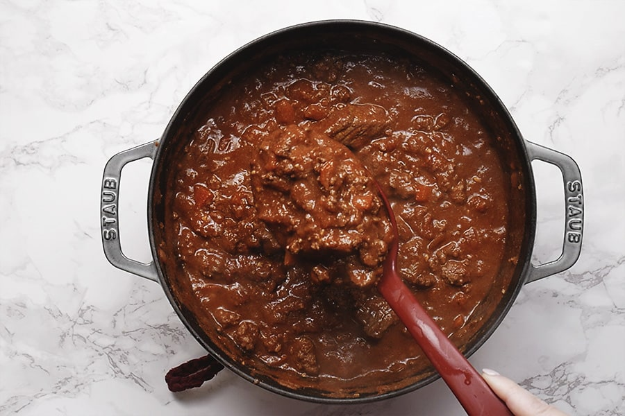 chili without beans in a dutch oven.