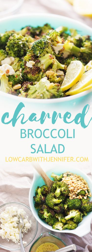 This charred broccoli salad is like a greek broccoli salad but more delicious because of the crispy, charred broccoli. My new favorite way to eat broccoli! The feta and the pine nuts give so much flavor and texture and the lemon in the dressing brightens everything up.