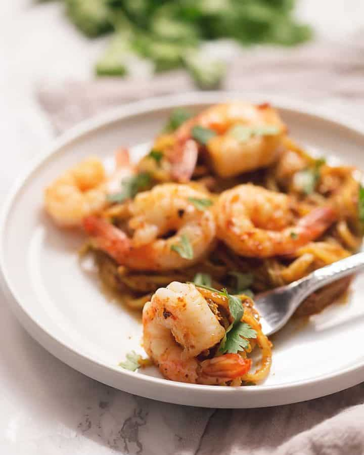 It's time to get spiralizing...lets get cooking with this low carb 30 minute meal!  These Chayote Squash Noodles with Chorizo and Shrimp are spicy, fragrant, flavorful, and only 5 ingredients!
