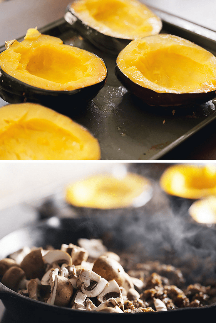 acorn squash on a sheet pan and mushrooms cooking in a skillet