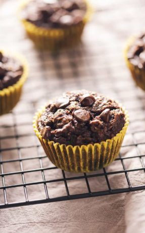 low carb chocolate zucchini muffins on a wire rack