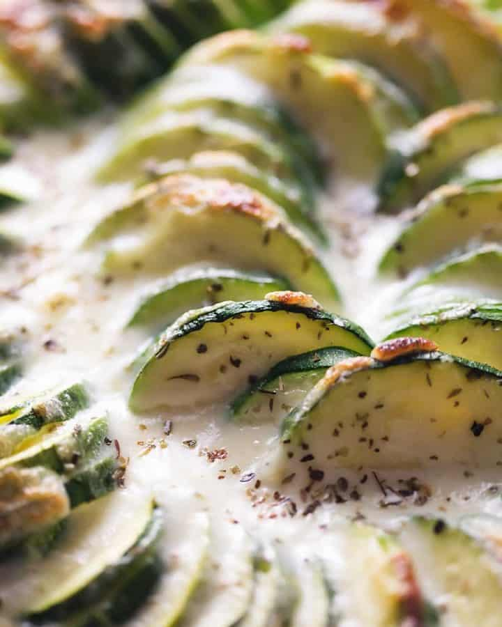 a close up of baked zucchini casserole