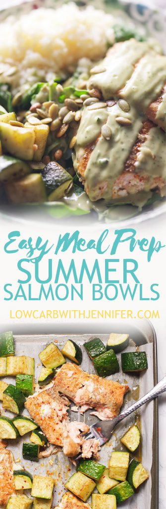 This baked salmon salad recipe is full of nutrition and healthy fats!  It's got spinach, salmon, zucchini, cauliflower rice, and pepitas...all topped off with a yummy avocado cilantro lime dressing!