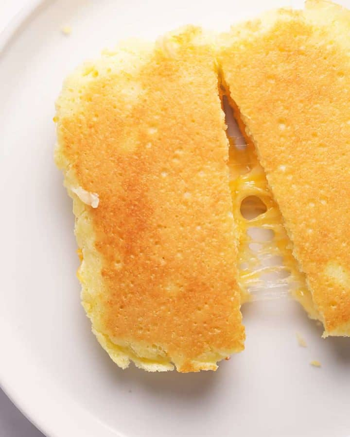 90 second microwave bread turned into a grilled cheese