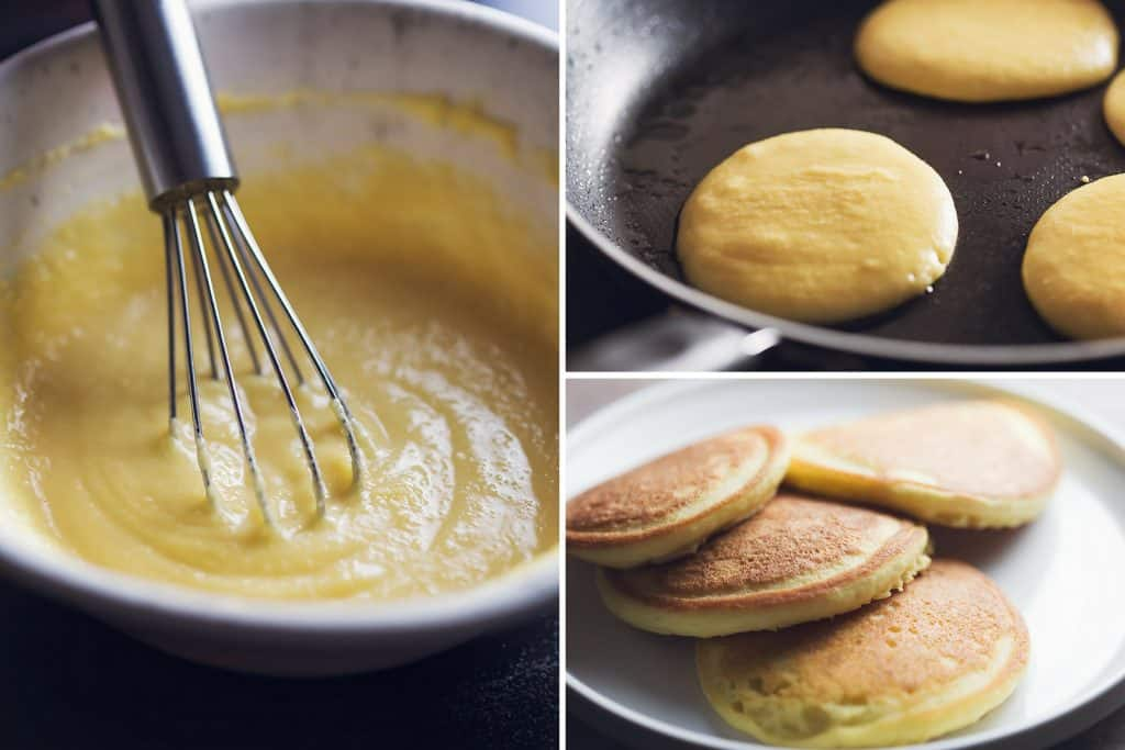 collage of low carb pancakes being made