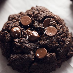 one double chocolate keto brownie cookie