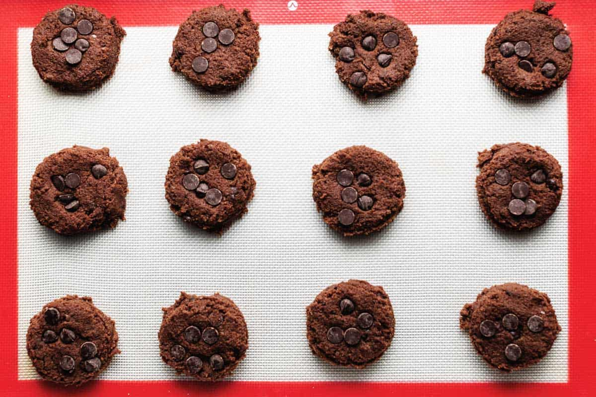gluten free chocolate cookies on a sheet tray