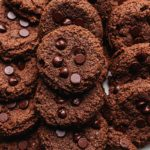 double chocolate chip cookies with almond flour on a platter