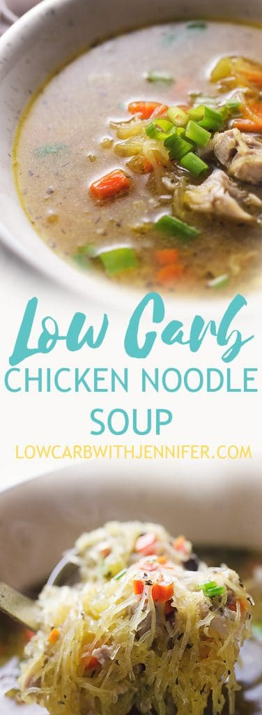 This Low Carb Chicken Soup with spaghetti squash noodles is the ultimate Fall comfort food.  Instead of traditional noodles, this recipe uses spaghetti squash noodles!