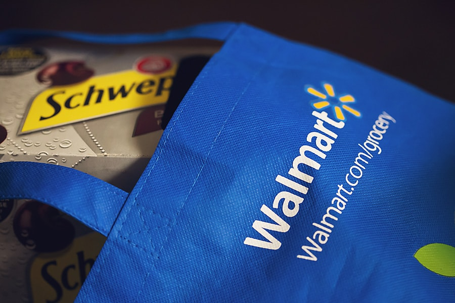 schweppes black cherry box in a walmart bag