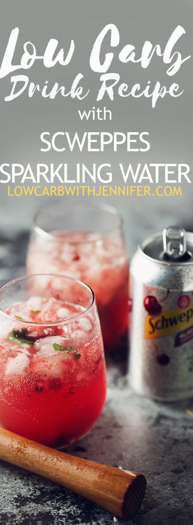#ad This easy low carb drink recipe, black cherry and mint smash, uses schweppes sparkling water (zero sugar) to make a yummy substitute for sugar filled soda. #lowcarbrecipes #ketorecipes #holidaydrinks