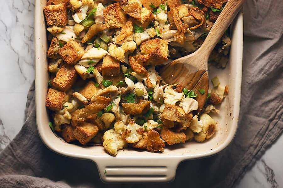 low carb stuffing in a baking dish