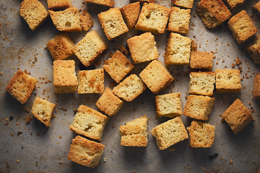 large croutons on a sheet pan