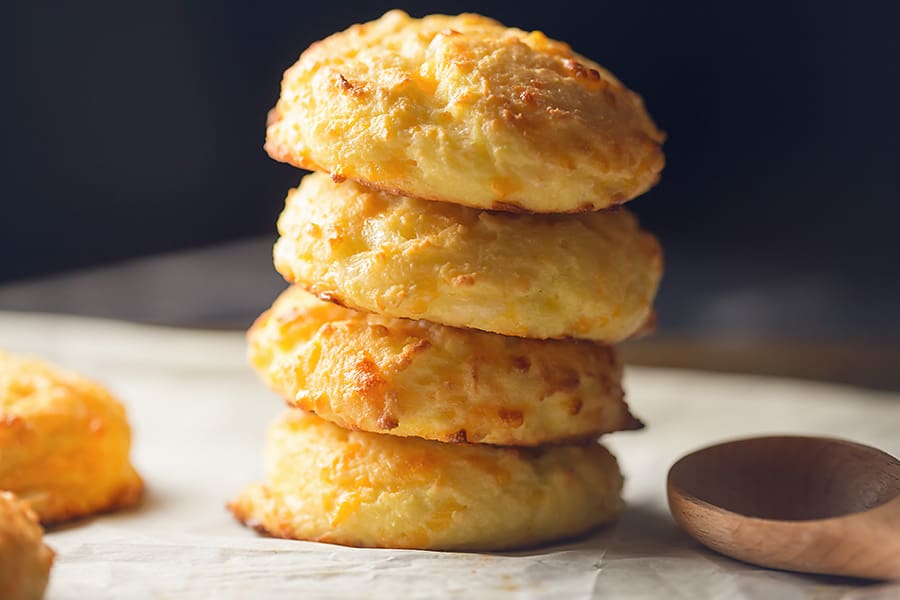 a stack of low carb cheddar biscuits
