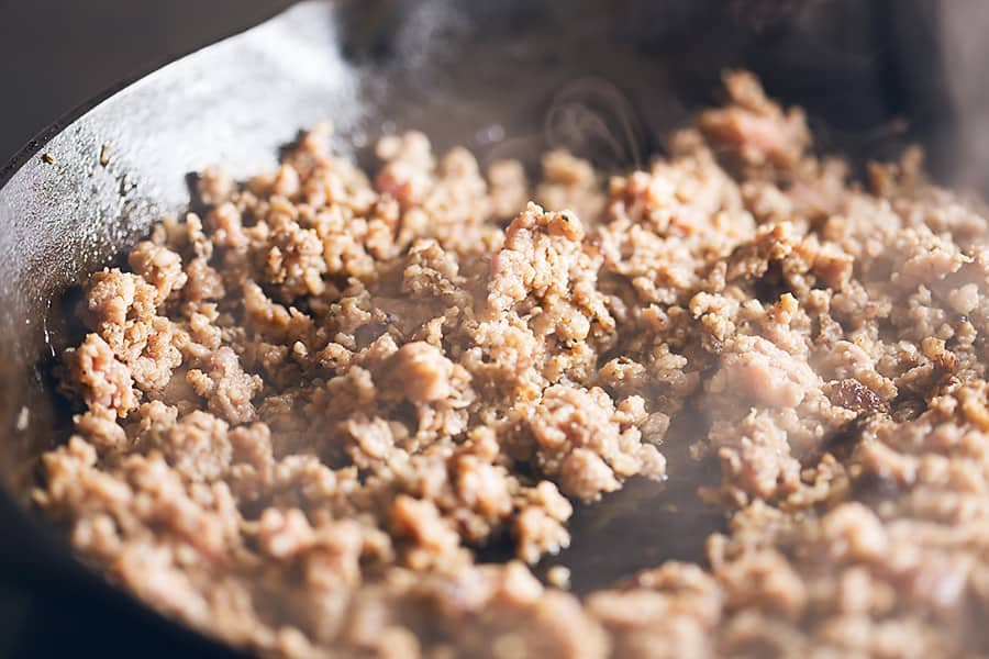 ground sausage cooked in a skillet