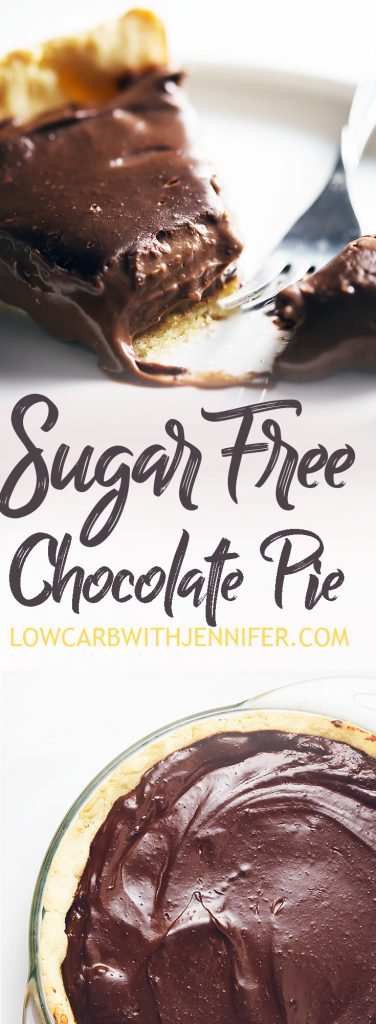 Silky smooth and amazing chocolate flavor makes this sugar free chocolate pie a perfect low carb dessert. #lowcarbrecipes #ketorecipes #lowcarbdesserts #ketodesserts