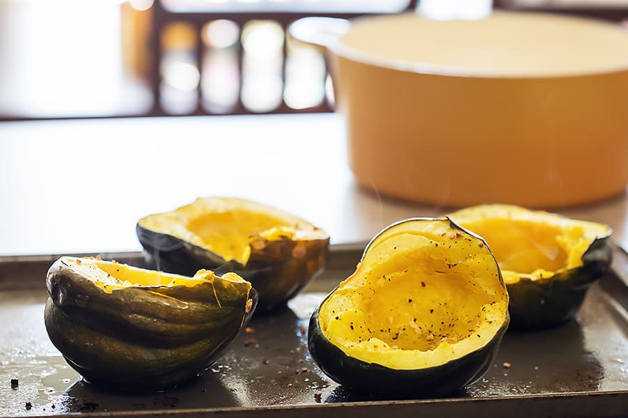 2 acorn squash halved and roasted in the oven