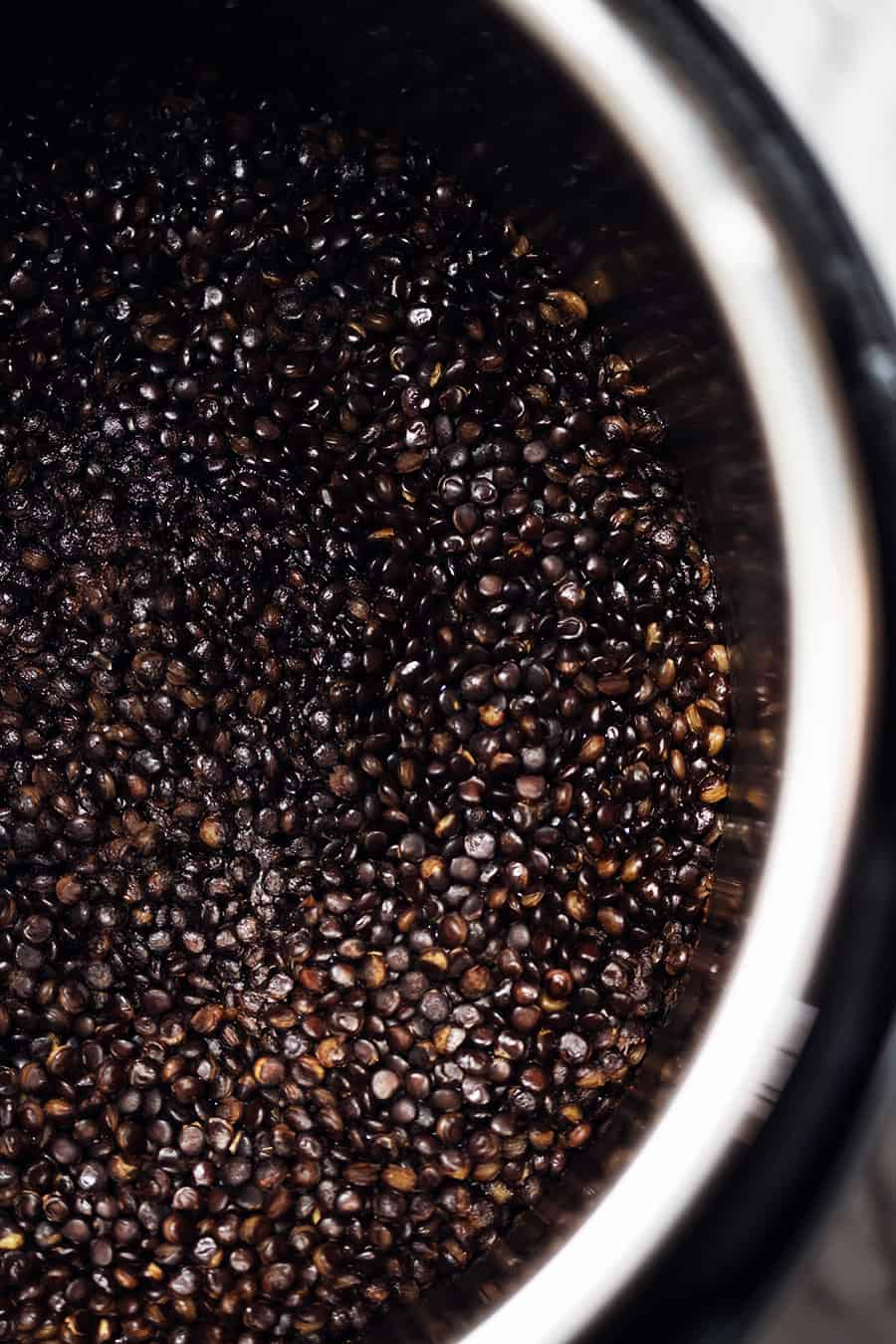 in instant pot full of black lentils