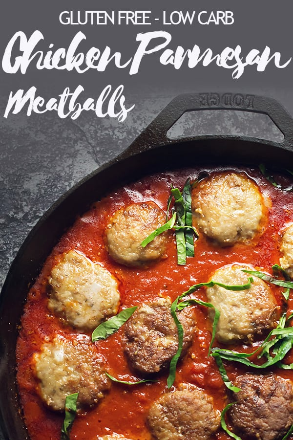 Pillowy chicken meatballs stuffed with a mozzarella ball, browned in olive oil, and simmered in a rich marinara sauce. Almond flour instead of breadcrumbs make them low carb and gluten free. #ketorecipes #glutenfreerecipe #lowcarblife #lowcarbdiet
