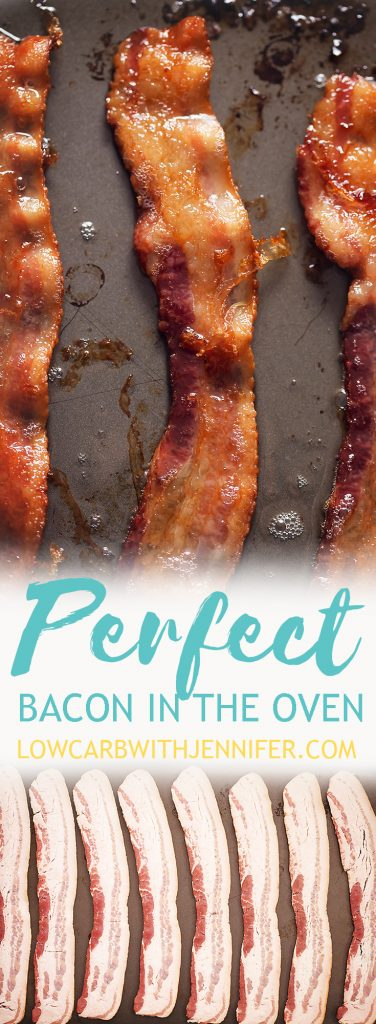 How to cook bacon in the oven? An easy step by step tutorial with pan recommendations, how to keep your oven door clean, and how to store the bacon grease. #baconrecipes #ketorecipes