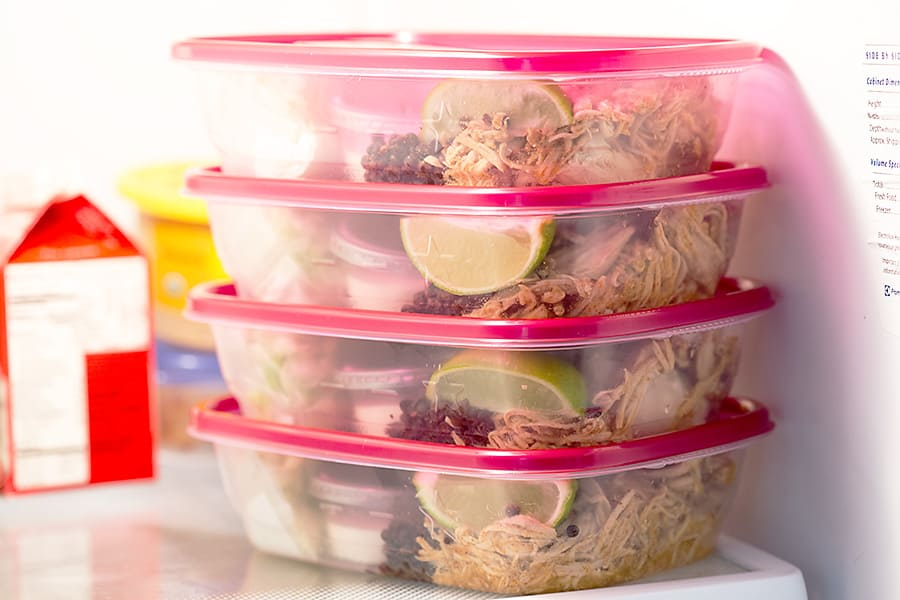 4 meal prep containers in the refrigerator