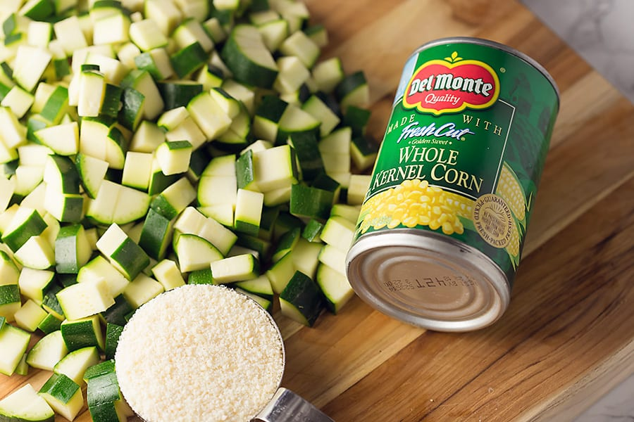 ingredients to make parmesan zucchini and corn